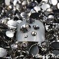 5 Tamanhos Black Diamond/Cinza Cor 5000 Pçs/saco Dicas Nail Art Cristal Glitter Pedrinhas 3D Nail Art Decoração