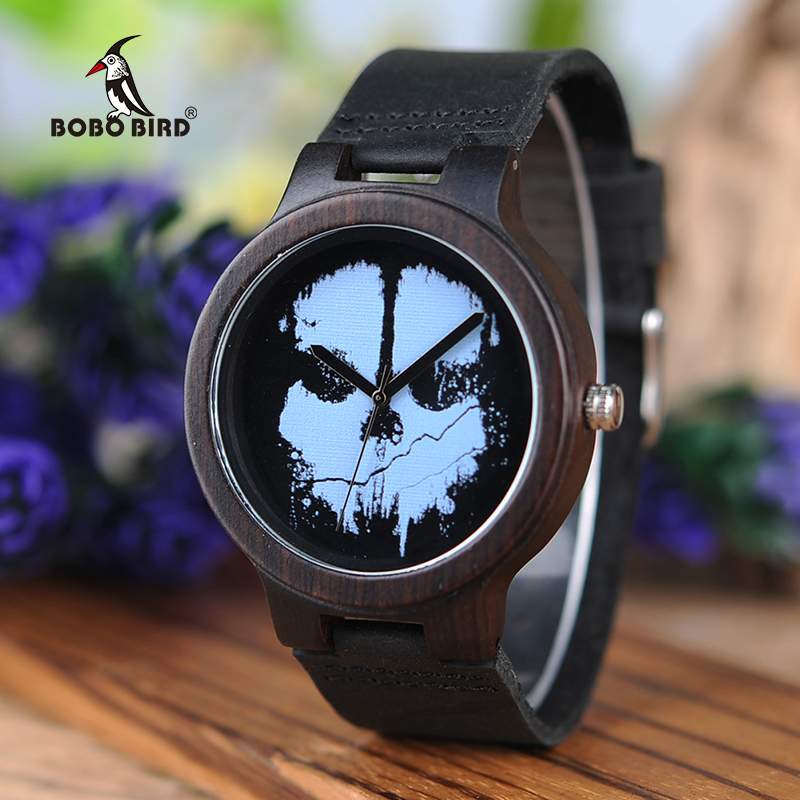 BOBO BIRD Men Punk Skull Wood Watches L-D24 Leather Band Top Brand Quartz Watches for Men as Gifts