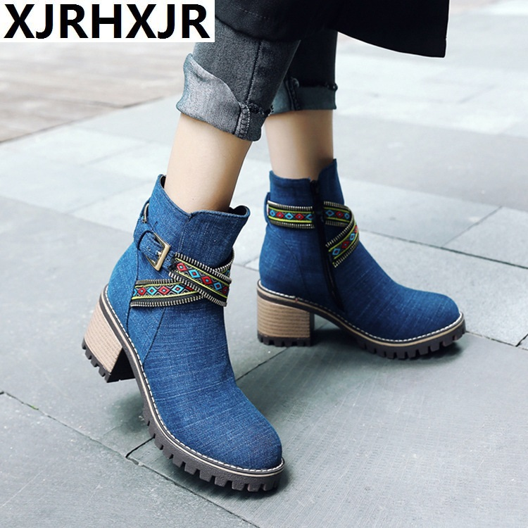 New Women Boots Plus Size 34-43 Women Fashion Shoes Autumn Winter Denim Thick Heel Ankle Boots Casual Shoes Woman Zip High Heels цена
