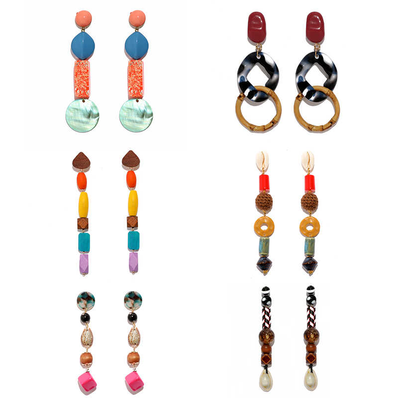 ZA Bohemian Colours Long Earrings For Women Geometric Handmade Statement Beads Party Drop Earrings Hanging Girls Resin Jewelry