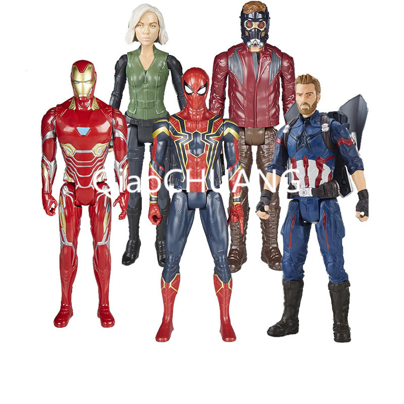 12 Marvel Avengers Infinity War Titan Hero Power FX Captain America Spider Man Iron Man Black Widow PVC Figure Model Toy 30CM disney marvel 7 legends avengers civil war captain america iron man black widow black panther falcon pvc action figure toy
