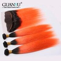 Guanyuhair 1B/Orange Ombre Brazilian Hair Bundles With Frontal Closure Ear to Ear Straight Orange Human Hair Weave 3 Bundles