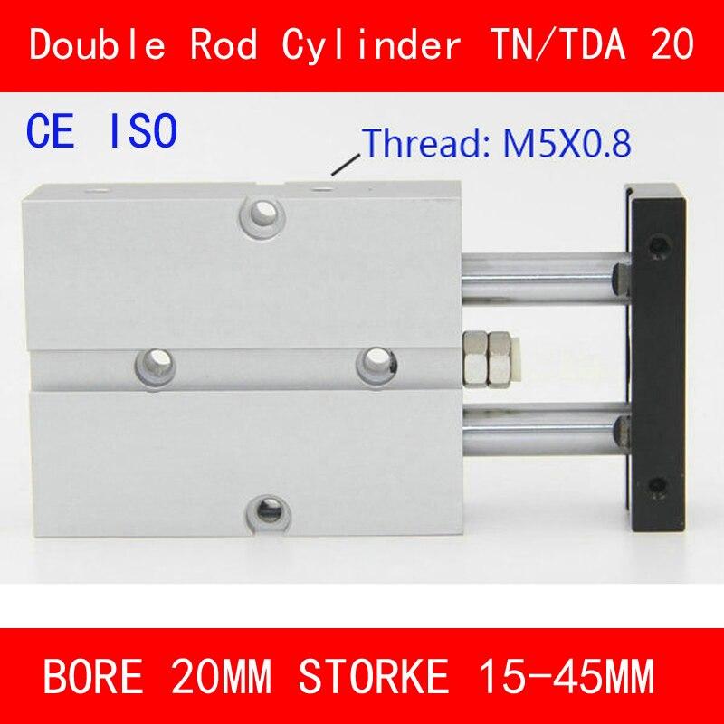 CE ISO TN20 TDA Ikiz Mili Hava Silindir Çap 20mm İnme 10-45mm Çift Eylem Hava Pnömatik silindir Çift Eylem Pnömatik