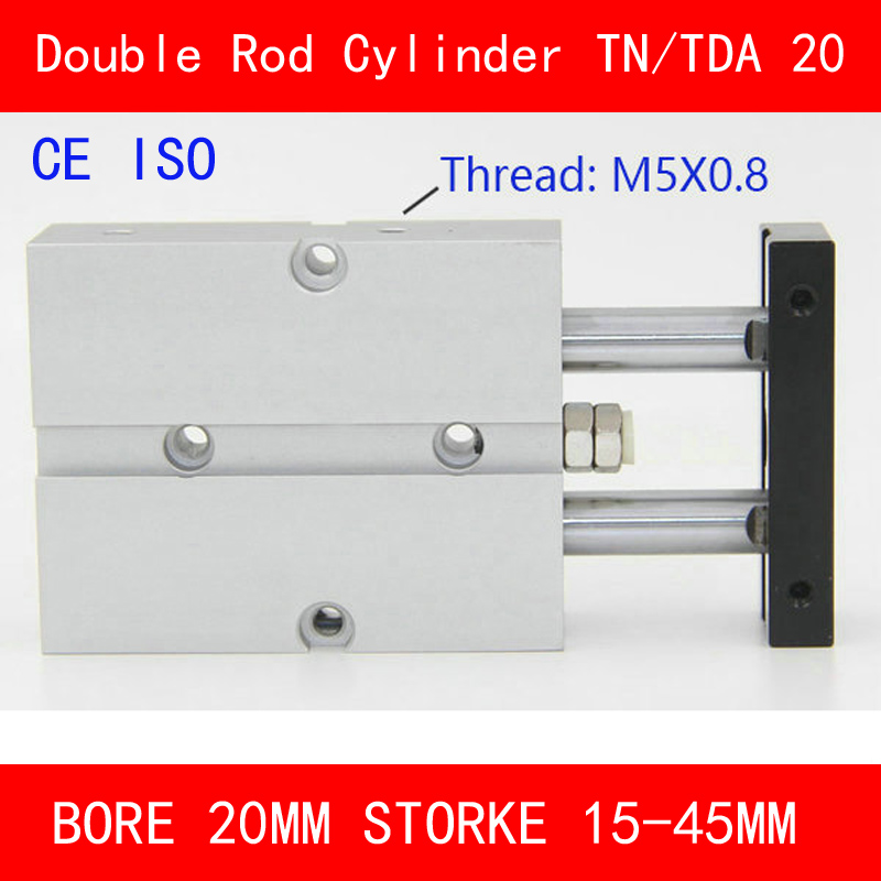 CE ISO TN20 TDA Twin Spindle Air Cylinder Bore 20mm Stroke 10-45mm Dual Action Air Pneumatic Cylinders Double Action Pneumatic tn25 tda twin spindle air cylinder bore 25mm stroke 10 45mm dual action air pneumatic cylinders double action pneumatic parts