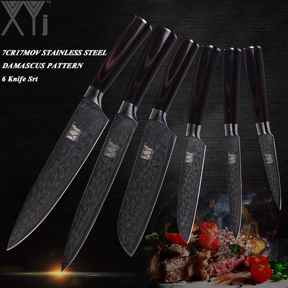 Ensemble de couteaux en acier inoxydable veine XYj damas 3.5 + 5 + 5 + 7 + 8 + 8 pouces Santoku Chef couteau de cuisine tranchant manche en bois