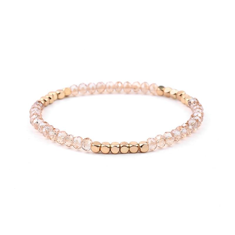 BOJIU многоцветные Кристальные браслеты для женщин золотые акриловые медные бусины розовый белый черный серый женский браслет с кристаллами BC226 - Окраска металла: 7-Tea Color
