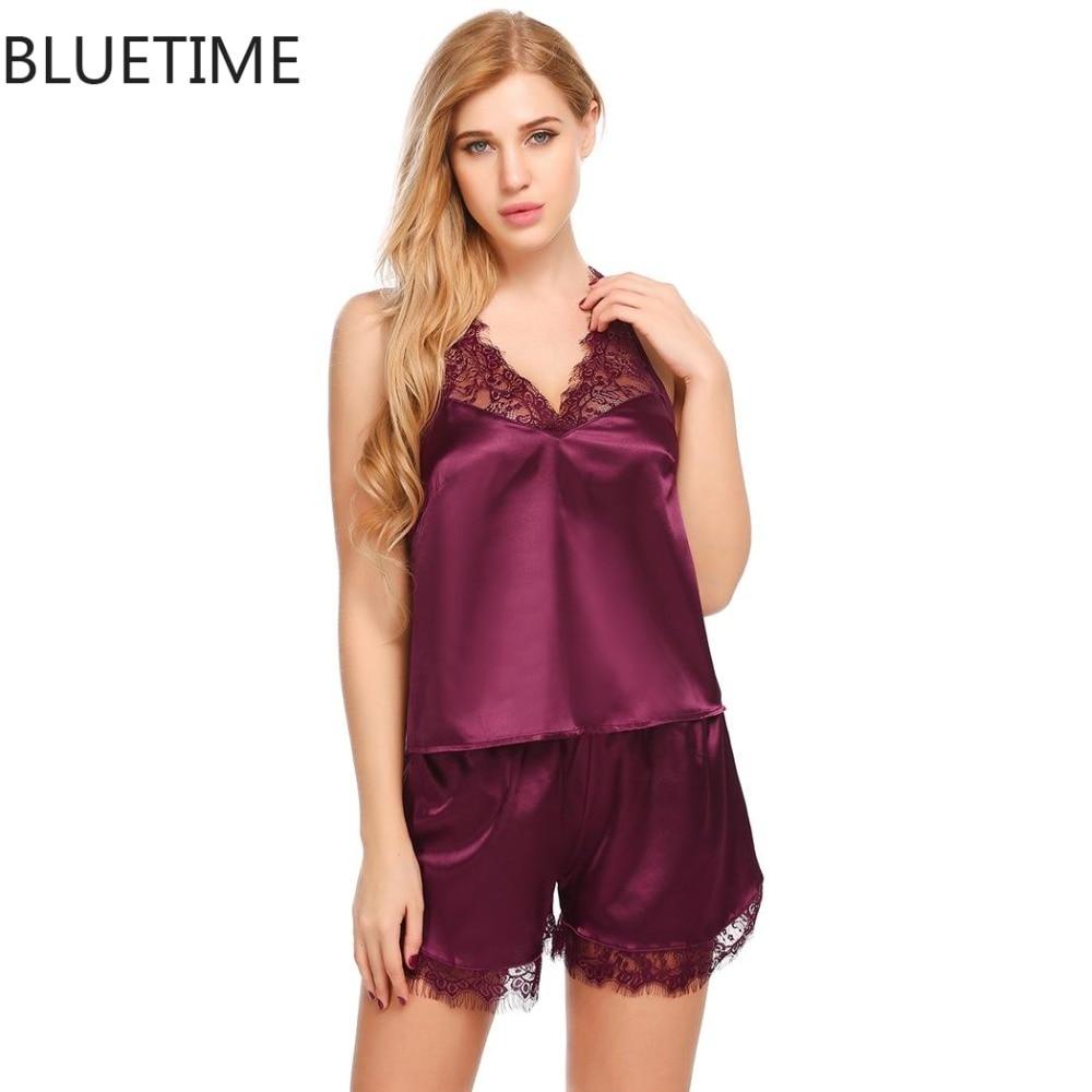 2015 Women Sexy Silk Satin Pajama Set Lace Sleepwear Plus