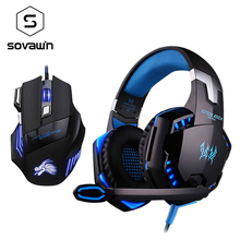 Sovawin Breathe LED 7 Button 5500 DPI USB Optical Gaming Mouse with Kotion each g2000 Gaming Headphone with Mic for PC Laptop