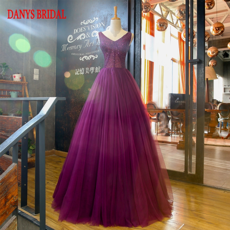 New Purple Long Evening Dresses Party On Sale Beaded A Line Strapless Women Prom Formal Evening Gowns Dresses