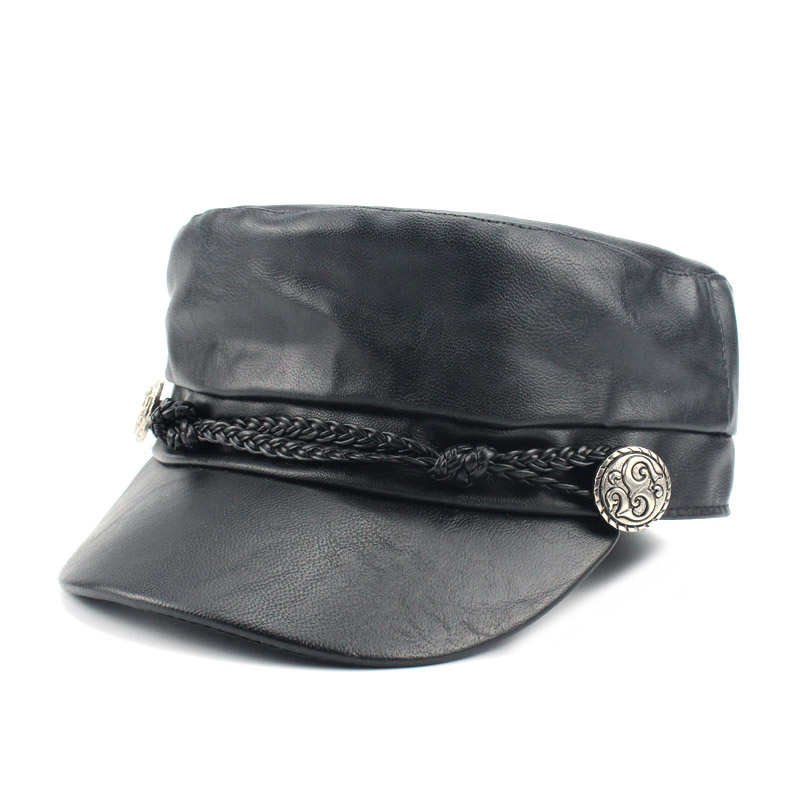 US $8 09 30% OFF|Fashion PU Women Army Hats Hot Sale Antumn Beret Newsboy  Hat Student Faux Leather Cap Winter Hats Caps Female Gorras Wholesale-in