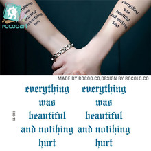 Men And Women Couple Waterproof Temporary Tattoo Stickers Personalized Blue Letters Harajuku Fake Tattoos