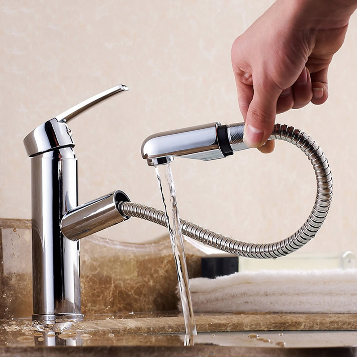 Round shape brass pull out laundry faucet basin mixer water tap for ...