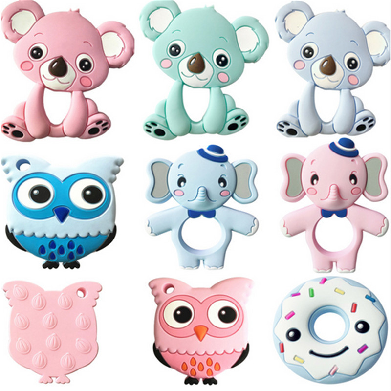 13 Colors Silicone Teethers Animal Koala Owl Elephant Baby Ring Teether Silicone Chew Charms Baby Teething Gift Toddler Toys