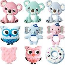 Mordedores de silicona en 13 colores, animales, Koala, búho, elefante, mordedor, mordedor de silicona, Charms para morder, regalo para la dentición del bebé, juguetes para niños pequeños