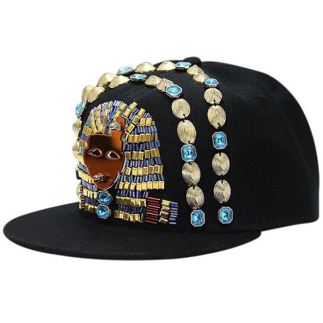 Handmade Acrílico Cristal Faraó Egípcio Logo Baseball Snapback Cap Hat para Homens e Mulheres do Hip Hop EUA Rua DJ Dança Cchapeau