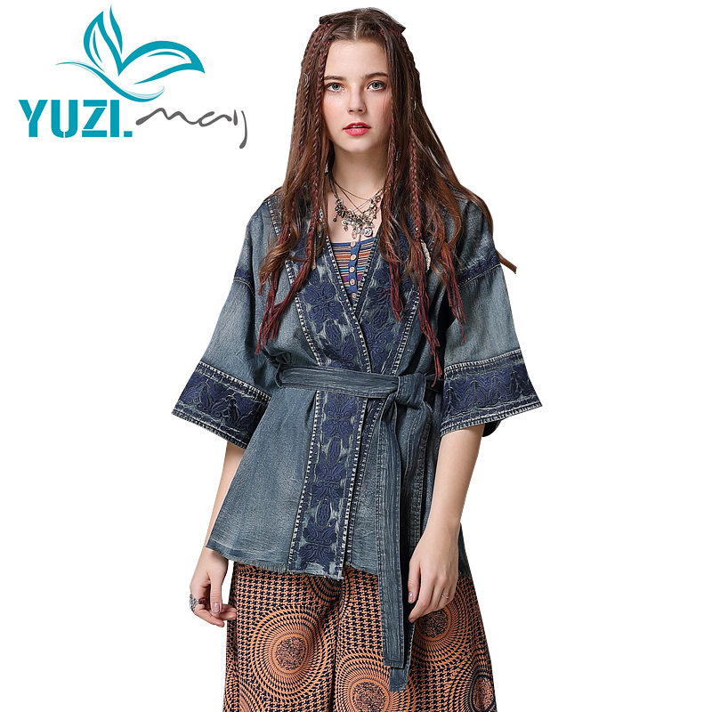 Denim Jacket For Women 2018 Yuzi may Boho New Coat Female V Neck Half Sleeve Flower