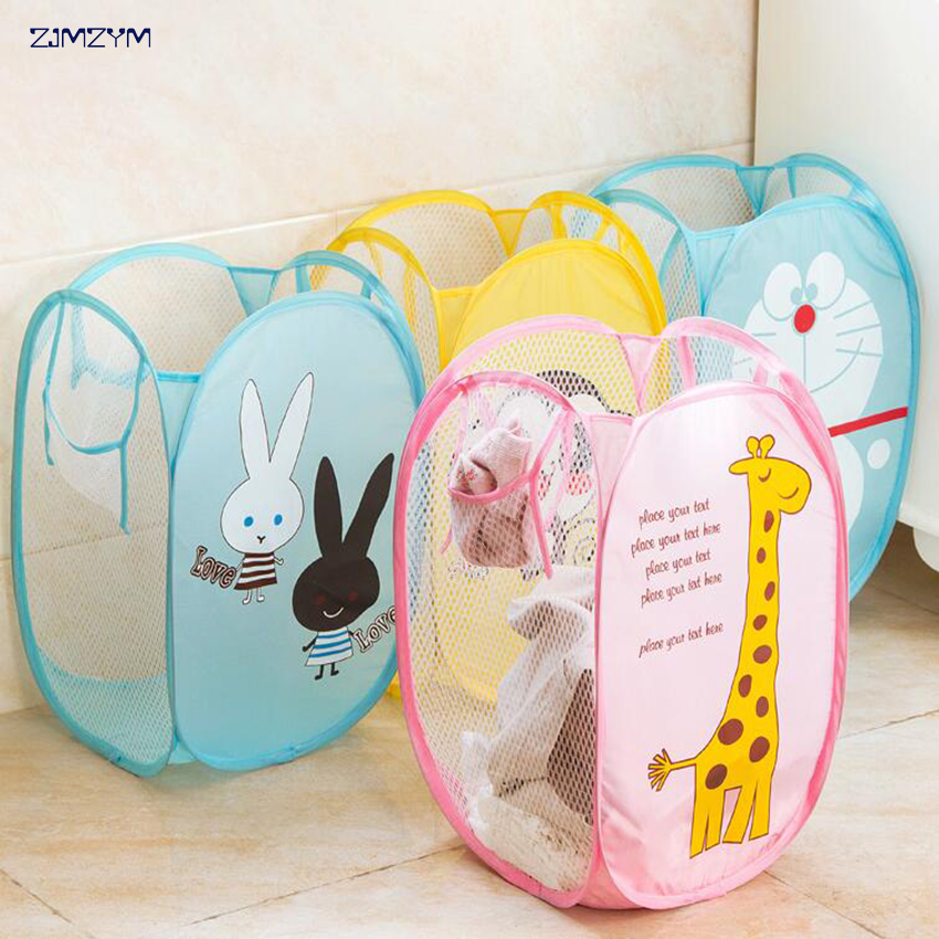 Nylon Mesh Fabric Folding Laundry Basket Storage Basket Toy Washing Basket Foldable Dirty Clothes Sundries Organizers Box