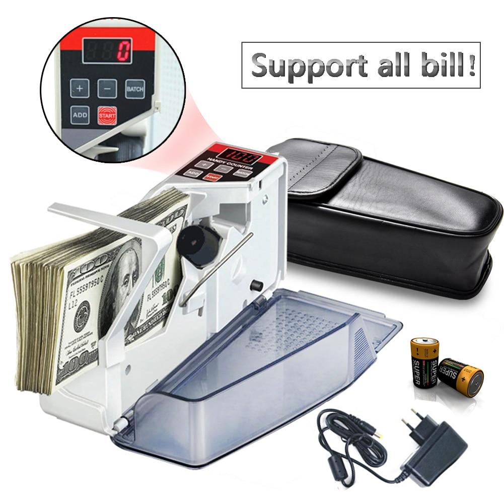 Mini contador de dinero portátil para la mayoría de la moneda Nota Bill Máquina de conteo de efectivo EU-V40 Equipo financiero al por mayor