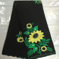 B8S0 Hot sale yellow and green flowers plants black African Lace For Dress,Free shipping Switzerland 100% Cotton Lace Fabric