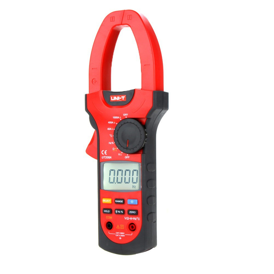 2017 NEW UNI-T UT208A Digital Clamp on Meter Multifunction Auto Range Multimeter AC/DC Voltage Current Temperature Tester DMM