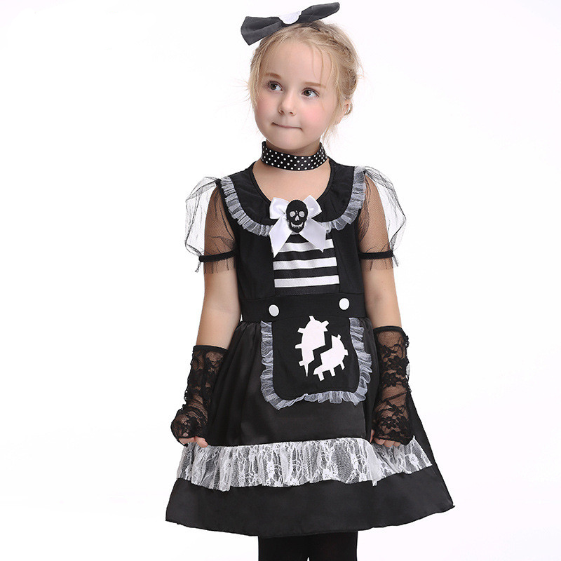 Halloween Cosplay Maid Girls Dress Carnival Party Skeleton Pattern Role Pirate Costume Princess Dress Black With Gloves halloween skeleton style cosplay costume face mask gloves set black white