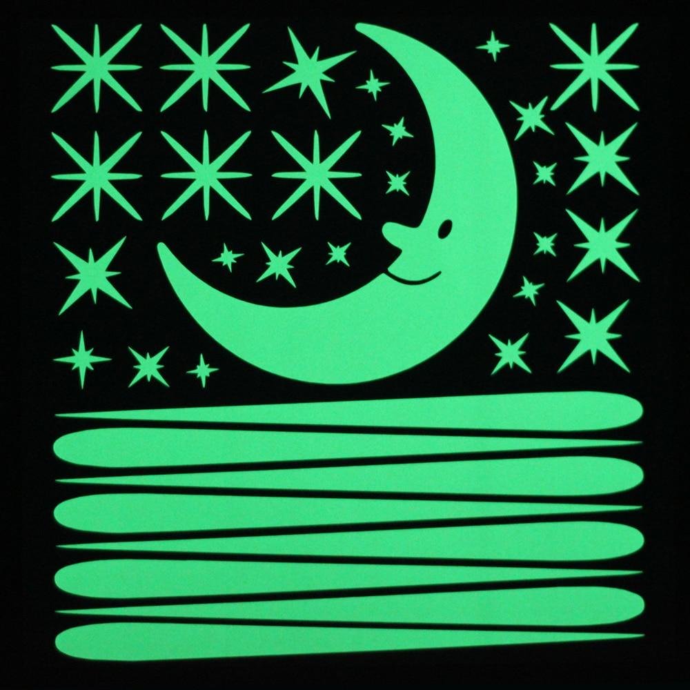Cartoon Moon Stars Meteor Shower Luminous Wall Sticker Home Decor Glow in the Dark Sticker Children Room Romantic DIY Decoration