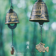 Japanese Style Furin Cast Iron Wind-bell Temple Wind-chime Temples Pray and Blessing Gifts Hanging Decor