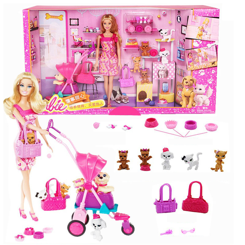 Barbie Grils Shopping And Pet Dog Dolls Set Buying Car Toy For Little Girl Christmas Day's Gift Barbie Boneca BCF82