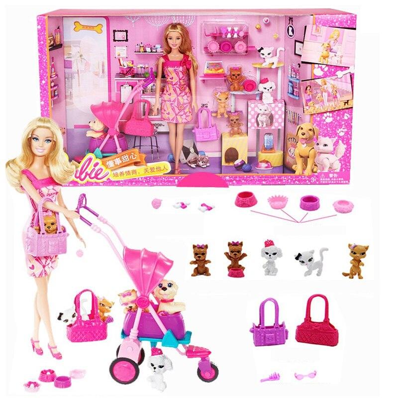Barbie Grils Einkaufen Und Pet Hund Puppen Set Kauf Auto Spielzeug Für Kleine Mädchen Weihnachten Tag der Geschenk Barbie Boneca BCF82