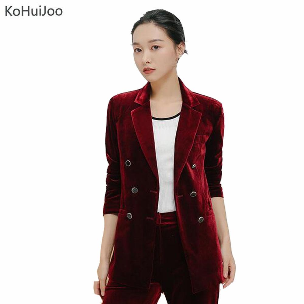 KoHuiJoo קטיפה אביב הסתיו קוריאני נשים בלייזר שחור כחול ירוק יין אדום בתוספת גודל גבירותיי משרד טרייל זוגי Breased 3XL