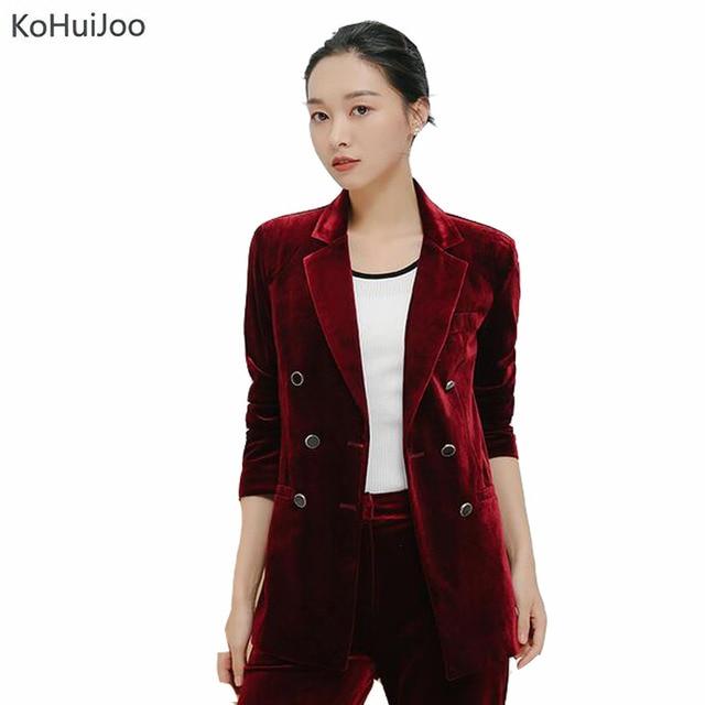 0d1aafb49ed KoHuiJoo Spring Autumn Korean Women Velvet Blazer Black Blue Green Wine red  Plus Size Ladies Office Blazers Double Breased 3XL