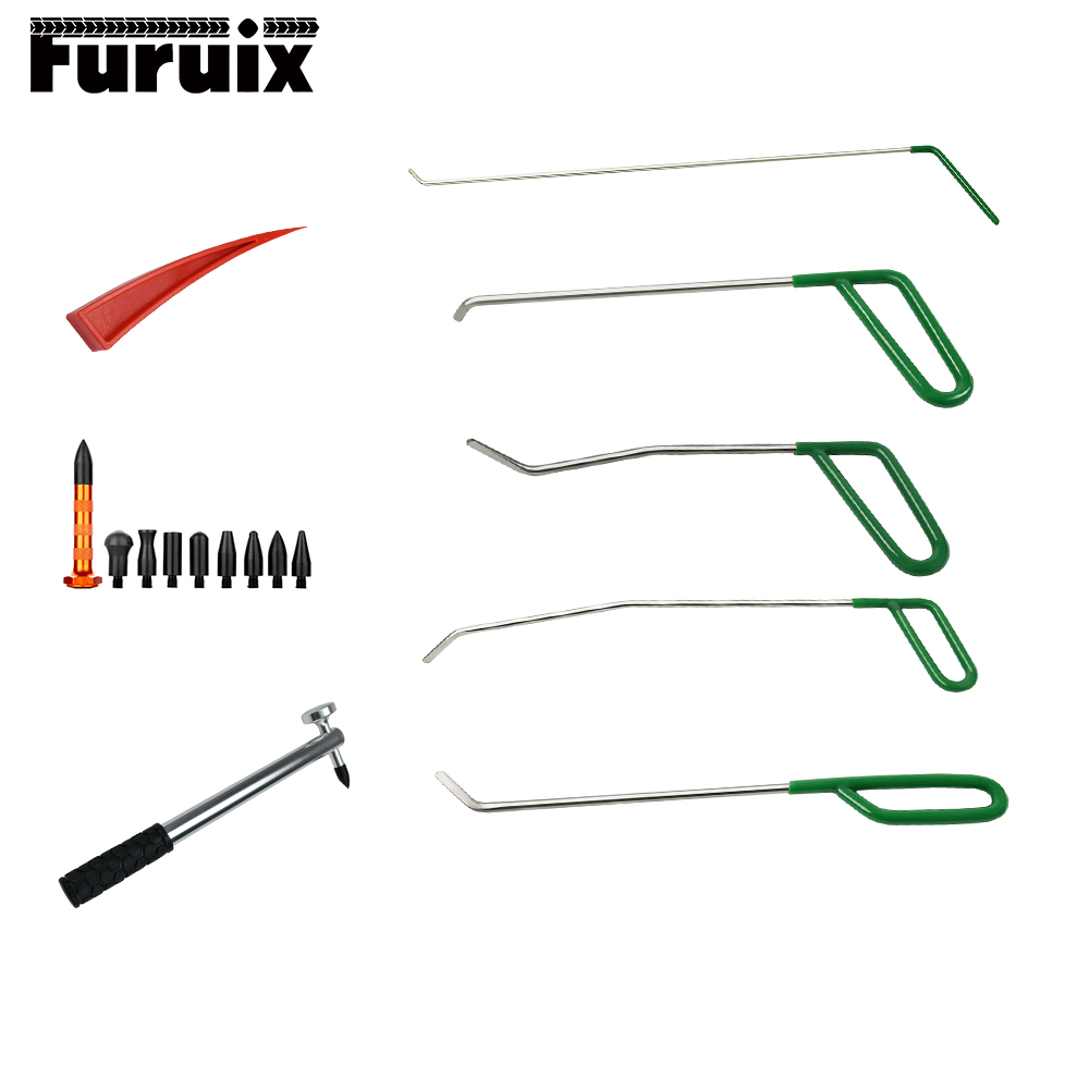 PDR tools 5 pcs Green PDR Rods Hook Tools with tap down repair hammer red wedge alpine pdr f50