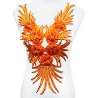 2 шт. оранжевый бисер, стразы бахрома воротник железо на аппликации патчи Африканский шнур кружево ткань мотивы для танцевального платья T1775