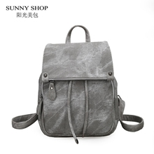 1e0b6e59ee SUNNY SHOP Vintage Casual Preppy Solid Women Drawstring Backpack Girls  School Rucksack Matte PU Leather A4