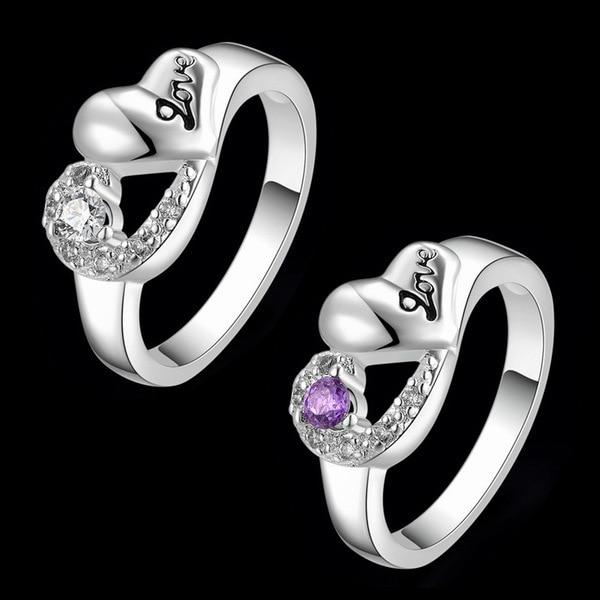 """Women s Heart Shaped With """"Love"""" Pattern 925 Silver CZ Diamonds"""