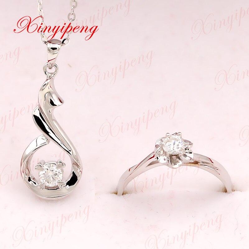 Xin yi Пэн 18 К белого золота, инкрустированные натуральный 0,2 карат кольцо с бриллиантом ожерелье ювелирные изделия костюм, женщины из двух час