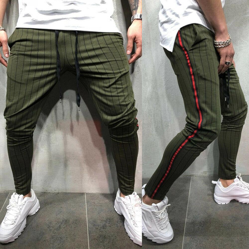 Men Striped Long Casual Pants Slim Fit Skinny Urban Pencil Trousers Joggers Sweatpants Black Green Red