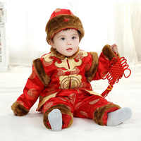 Long Sleeve Chinese Spring Festival Clothes New Year Costume Baby Clothes Cotton-Padded Jacket Tang Traditional Clothing Set+Hat