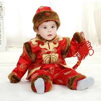 Long Sleeve Chinese Spring Festival Clothes New Year Costume Baby Clothes Cotton Padded Jacket Tang Traditional Clothing Set+Hat