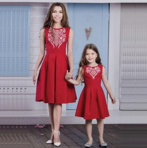 new xmas red dress family matching sleeveless dress clothes women girl mother daughter christmas party dresses outfit set in matching family outfits from - Red Dress For Christmas Party