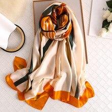 Luxury Women Silk Scarf Designer 2019 Brand Print Summer Pashmina Scarves Foulard Female Hijab Beach for Lady