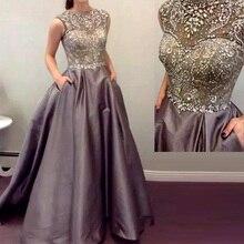 Robe de Soiree Kristall Perlen Lange Abendkleider 2017 Scoop Neck Flügelärmeln Formale Kleider Grau Farbe vestidos de festa