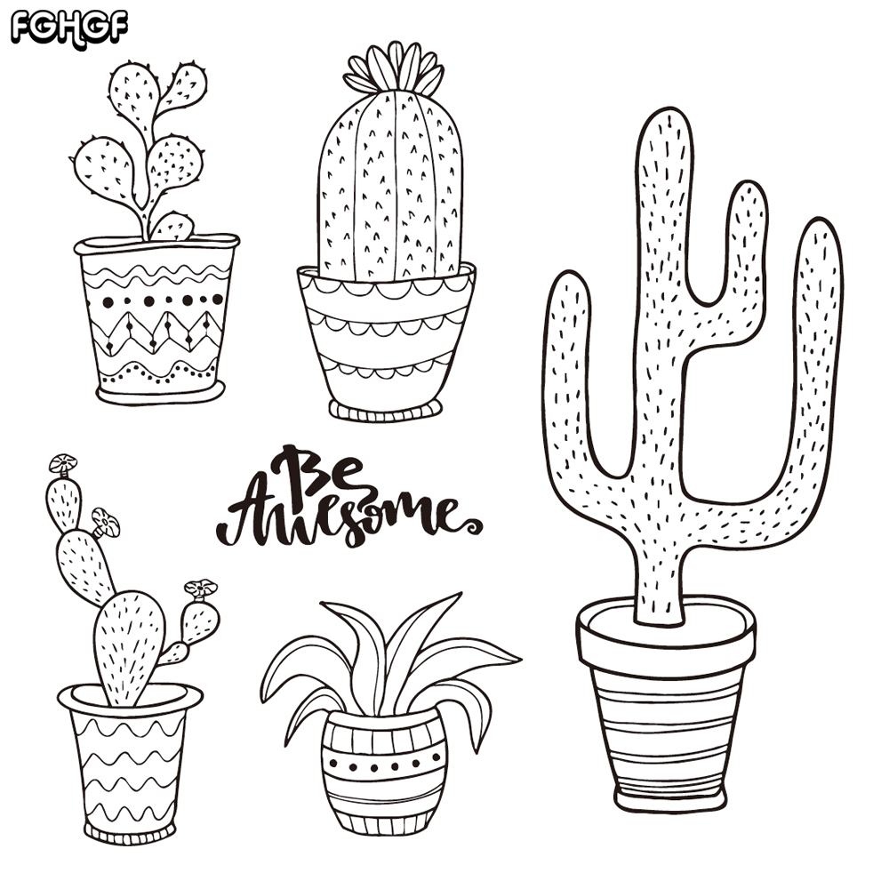 Dibujado a mano cactus / set doodle plantas en macetas Sello de - Artes, artesanía y costura