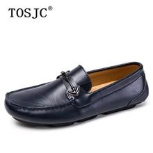 цена TOSJC Summer Mens Loafers Lightweight Buckle Moccasins High Quality Boat Shoes for Male Breathable Slip-On Flats Driving Shoes онлайн в 2017 году