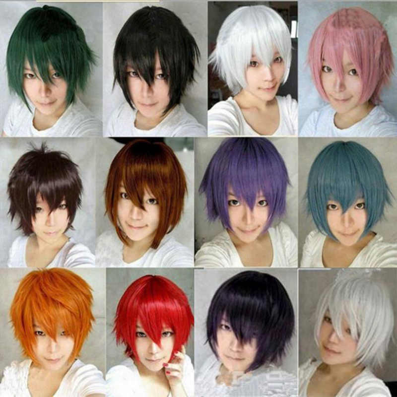 14 Colors Anime Cosplay Wig Short Straight Heat Resistant Synthetic Hair Wigs For Japanese Anime Peruca
