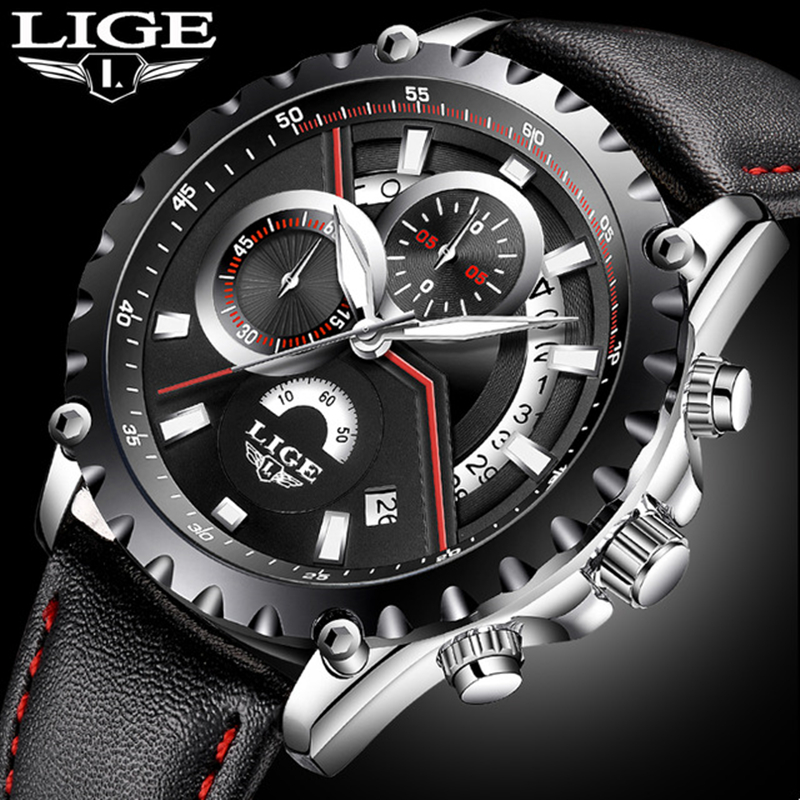 New LIGE luxury brand watch men fashion casual sport quartz wristwatch leather waterproof men;s watches clock Relogios Masculino