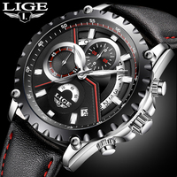 New LIGE Luxury Brand Watch Men Fashion Casual Sport Quartz Wristwatch Leather Waterproof Men S Watches