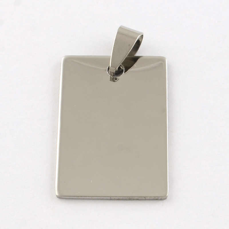 50pcs 201 Stainless Steel Rectangle Blank Stamping Tag Pendants with Snap on Bail Stainless Steel Color 30x20x1mm Hole: 7x3mm