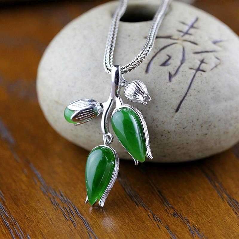 925 silver fashion Seiko lady tulip natural Hetian jiyu pendant