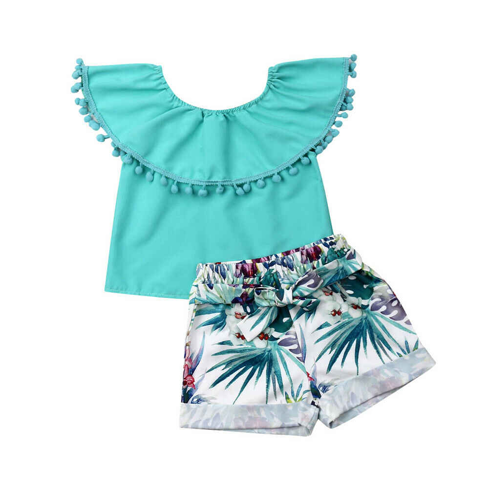 2Pcs Infant Baby Kids Girls Summer Outfits Tassel Ruffles Ruffles Solid Tops + Flowers Print Shorts Set